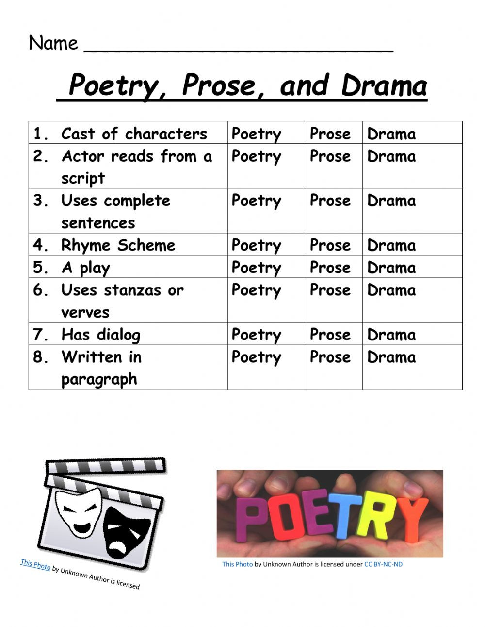 Drama Prose and Poetry worksheet