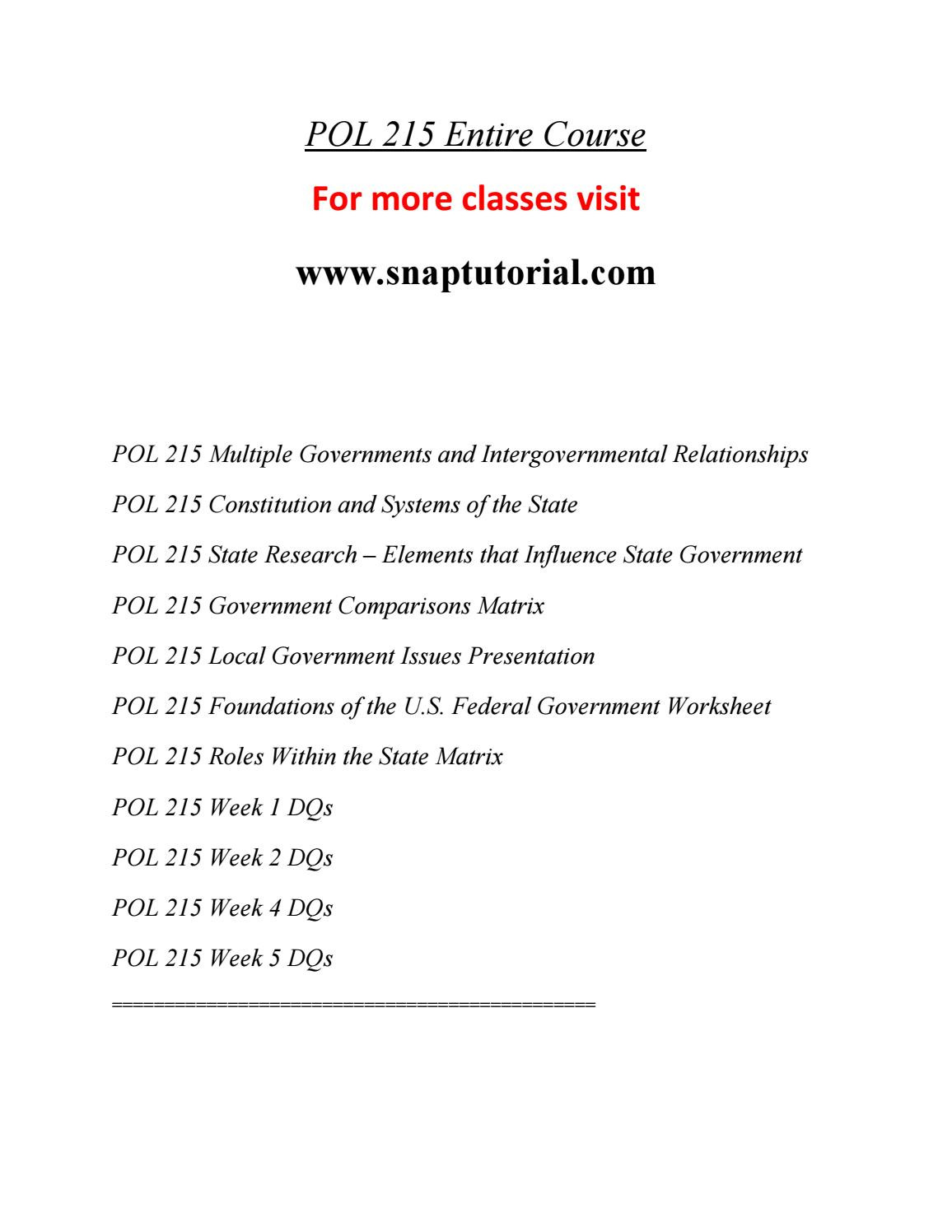 State and Local Government Worksheet