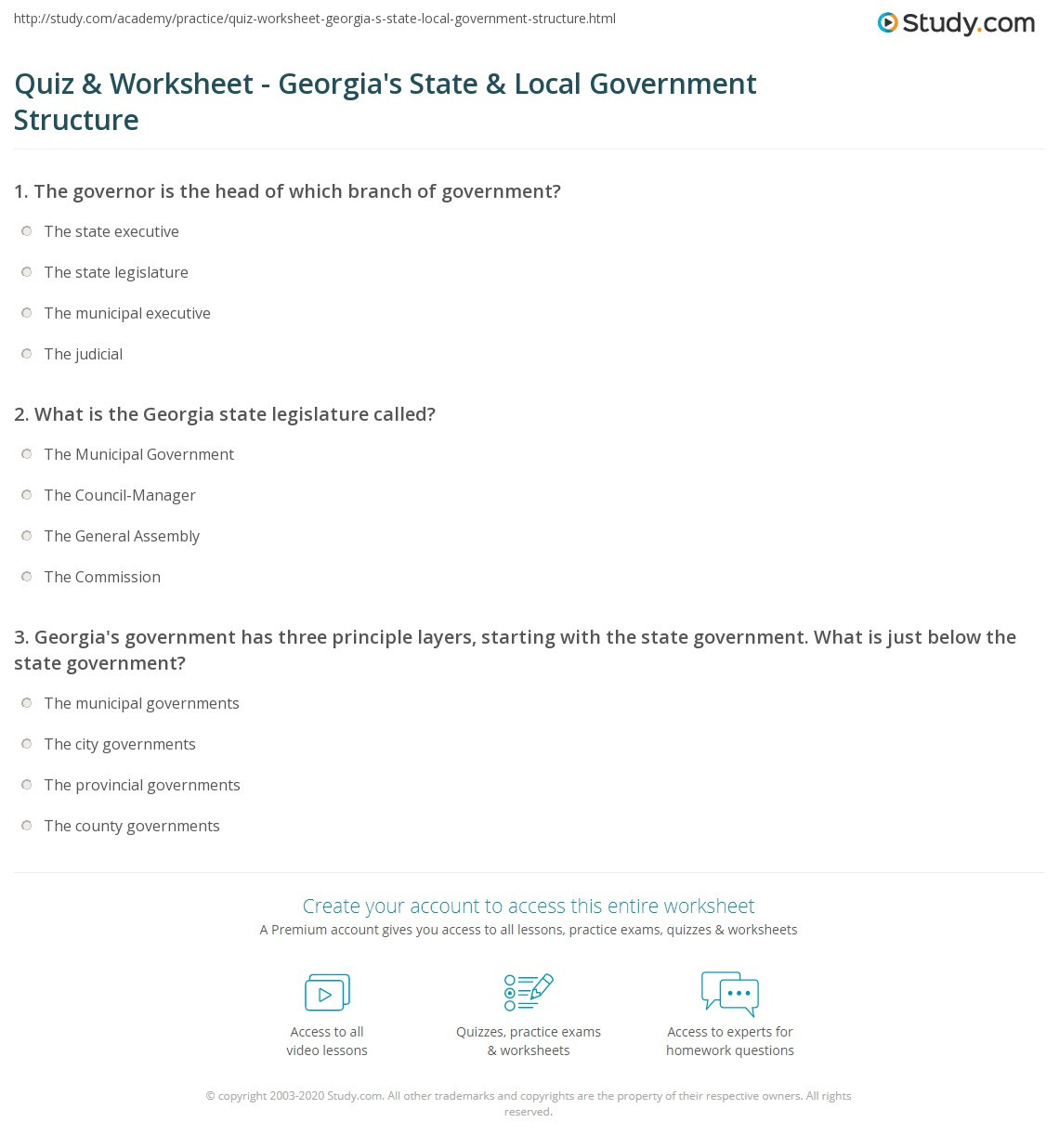 Local Government Worksheet