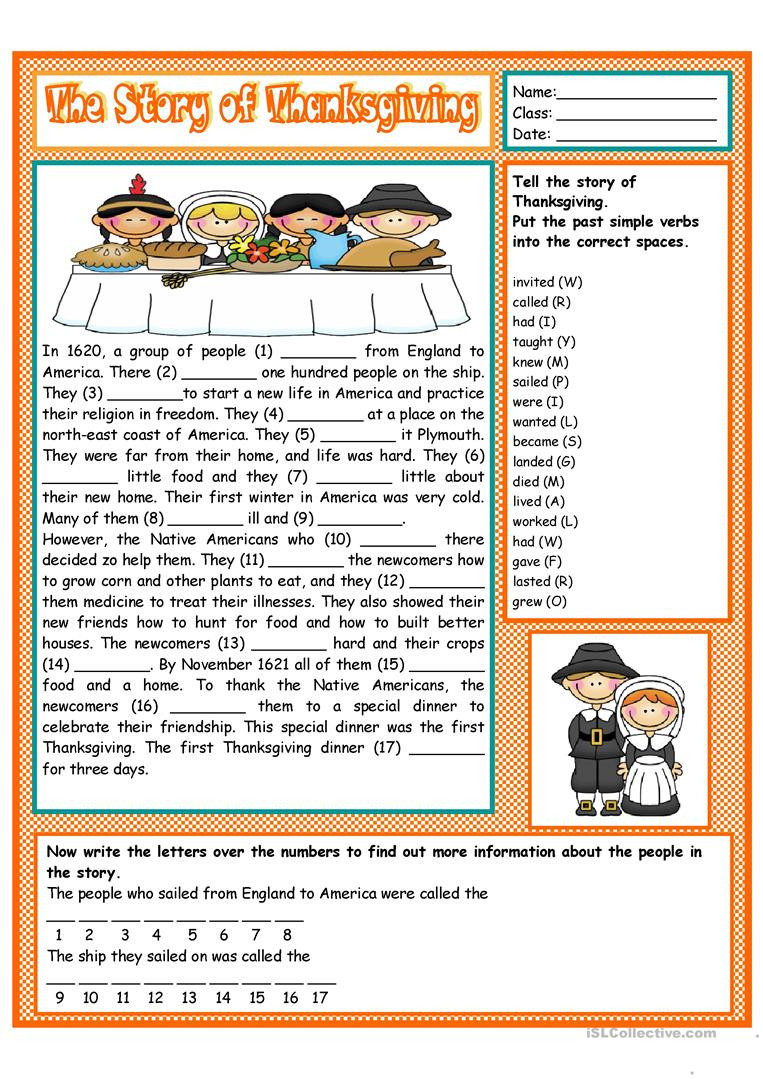 The Story of Thanksgiving English ESL Worksheets for